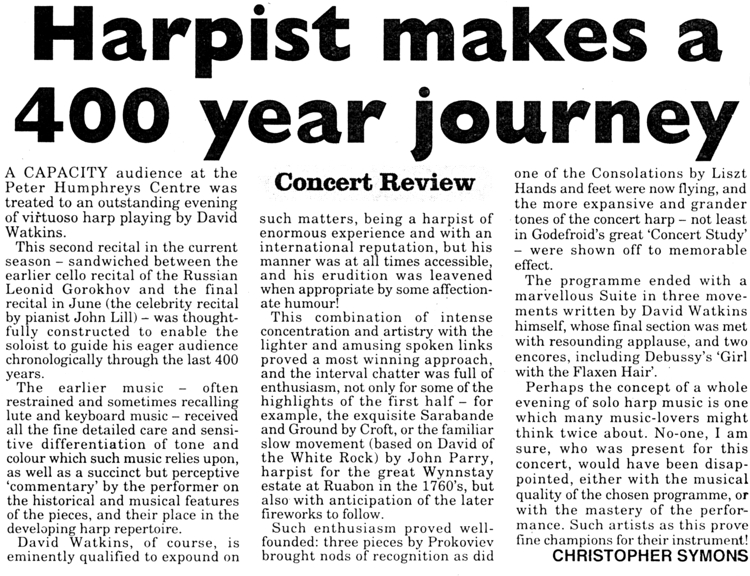 """Harpist Makes a 400 Year Journey"""